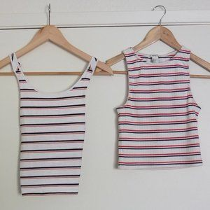 Forever 21 Striped Crop Tank Tops (2) Size Small